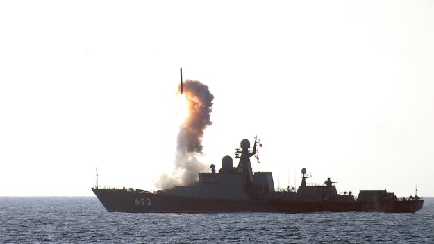 Undated photo of Russian Navy guided missile frigate Dagestan firing UKSK Shot.