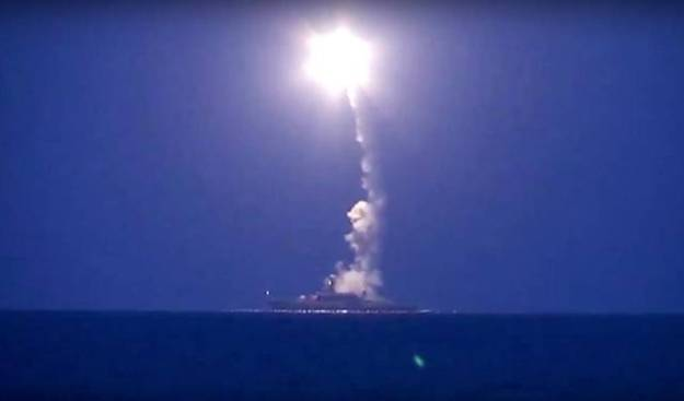 A launch of a Russian guided land attack cruise missile on Oct. 7 from the Caspian Sea. Russian Ministry of Defense Image
