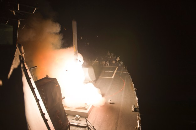 USS Arleigh Burke (DDG-51) launches Tomahawk cruise missiles on Sept. 23, 2014. US Navy Photo