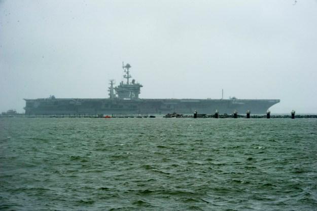 USS Harry S. Truman (CVN-75) gets underway in preparation for Hurricane Joaquin on Oct. 1, 2015. US Navy Photo
