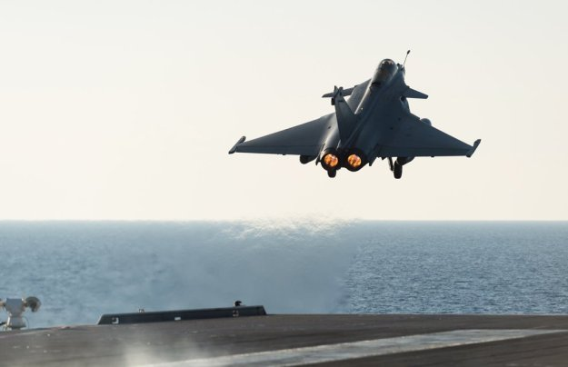 A French Dassault Rafale M launches from nuclear carrier Charles de Gaulle in the Eastern Mediterranean Sea on Nov. 23. French Ministry of Defense Photo