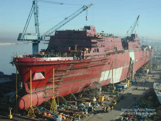 San Antonio (LPD-17) is under construction at the then Northrop Grumman Ship Systems, Avondale Operations in 2003. US Navy Photo