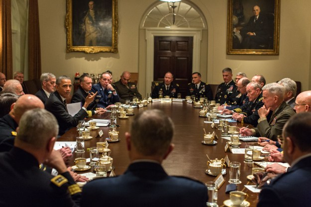 President Barack Obama and Vice President Joe Biden hold a meeting with Combatant Commanders and Military Leadership in the Cabinet Room of the White House on Nov. 12, 2013. White House Photo