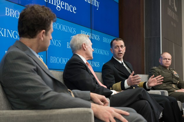 Chief of Naval Operations Adm. John Richardson speaks on maritime military strategy at the Brookings Institute in Washington D.C. with Secretary of the Navy Ray Mabus and Commandant of the Marine Corps Gen. Robert Neller. US Navy photo.