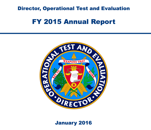 Document: Pentagon's Director, Operational Test & Evaluation 2015 Annual Report