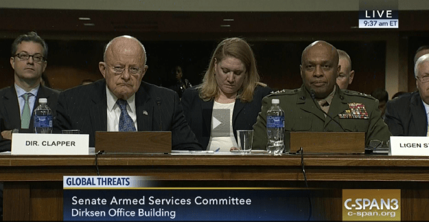 DIA Director James Clapper and Lt. Gen. Vincent Stewart on Feb. 9, 2016 before the Senate Armed Services Committee. C-SPAN Image