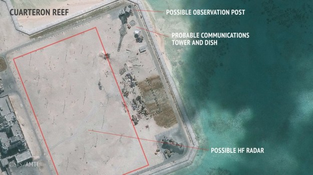 A Jan. 24, 2016 image of Cuarteron Reef in the South China Sea with what is likely a high frequency radar array. CSIS, DigitalGlobe Image used with permission.