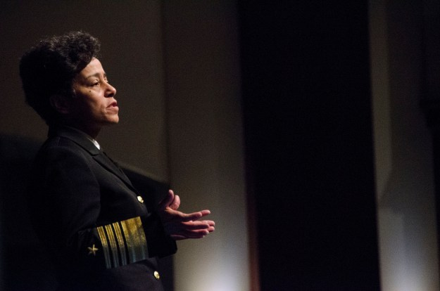 Vice Chief of Naval Operations (VCNO) Adm. Michelle Howard speaks to students and faculty at the U.S. Army Command and General Staff College (CGSC) in 2015. US Army Photo