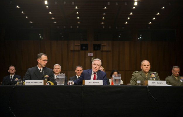 Secretary of the Navy Ray Mabus testifies before the Senate Armed Services Committee with CNO Adm. John Richardson and CMC Gen. Robert Neller. US Navy Photo
