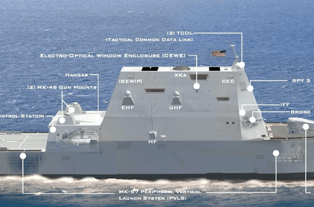 New External DDG-1000 Mast Reduces Ship's Stealth From Original Design