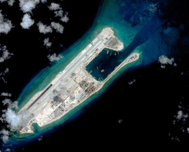 Fiery Cross Reef in September 2015. CSIS Asia Maritime Transparency Initiative/DigitalGlobe Photo