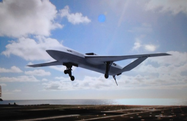 An artist's concept of the General Atomics Sea Avenger taken from a display monitor. The design shows a wing-body-tail configuration US Naval Institute Photo