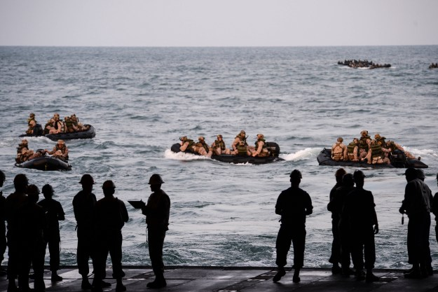 Sailors launch Marines assigned to the 31st Marine Expeditionary Unit (31st MEU) and soldiers assigned the Japan Ground Self Defense Force from the well-deck of the amphibious transport dock ship USS Green Bay (LPD 20) during amphibious assault training in June 2015. US Navy photo.