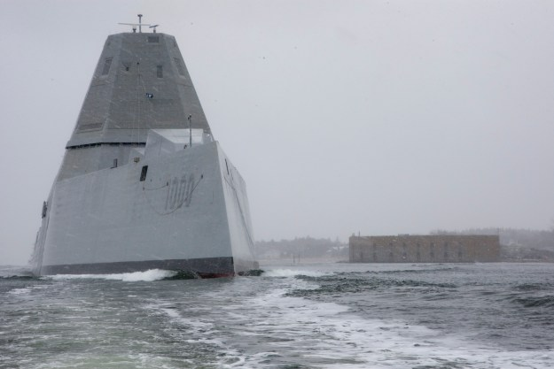The guided- missile destroyer Zumwalt (DDG-1000) departs the Bath Iron Works shipyard on March 24, 2016. US Navy Photo