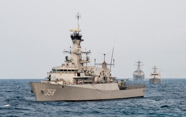 Indonesian Navy corvette KRI John Lie (358) lines up for a combined gunnery exercise. US Navy Photo