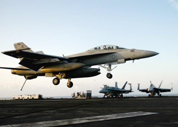 "An F/A-18F Super Hornet, assigned to the ""Checkmates"" of Strike Fighter Squadron 211 in 2006. US Navy Photo"