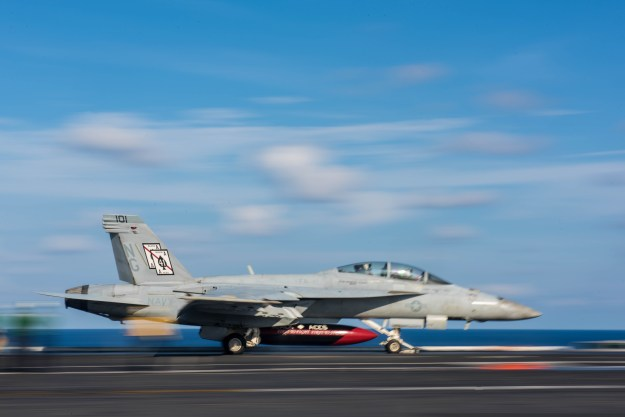 An F/A-18F Super Hornet assigned to the Black Aces of Strike Fighter Squadron (VFA) 41 takes off of USS John C. Stennis' (CVN-74) on May 20, 2016. US Navy Photo