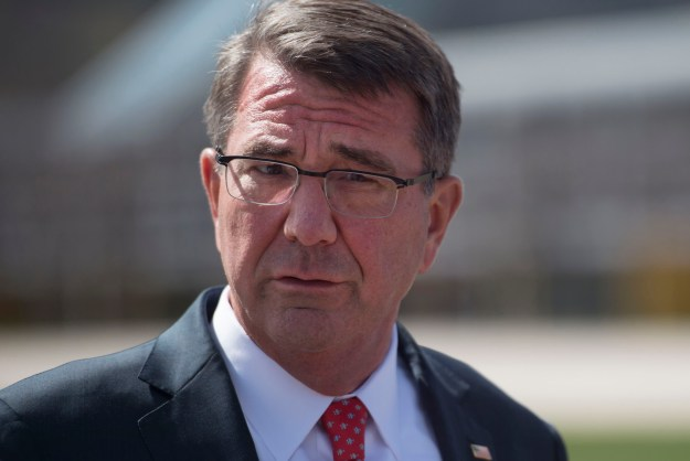 Secretary of Defense Ash Carter speaks with reporters at theU.S. Air Force Academy after touring the campus in Colorado Springs, Colo., May 12, 2016. DoD Photo