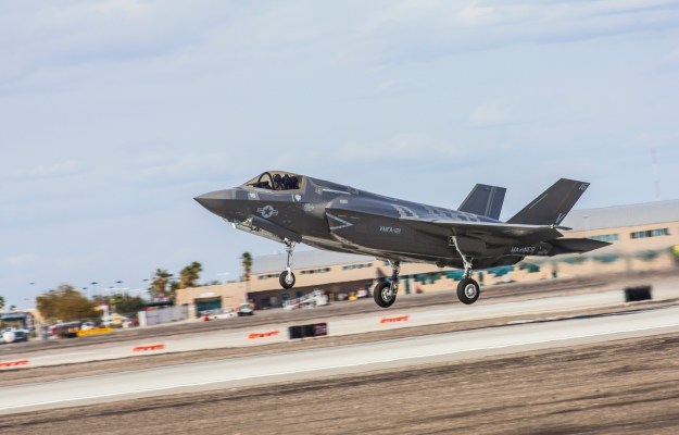 An F-35B Joint Strike Fighter from Marine Fighter Attack Squadron 121 takes off from Marine Corps Air Station Yuma, Ariz., launching the squadron's first orientation flight, Feb. 21, 2013. US Marine Corps photo.