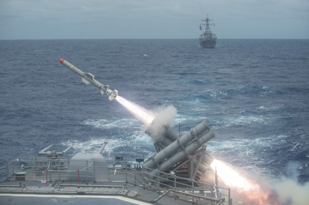 A Harpoon anti-surface missile is launched from the Ticonderoga-class guided-missile cruiser USS Shiloh (CG-67) in 2014. US Navy Photo
