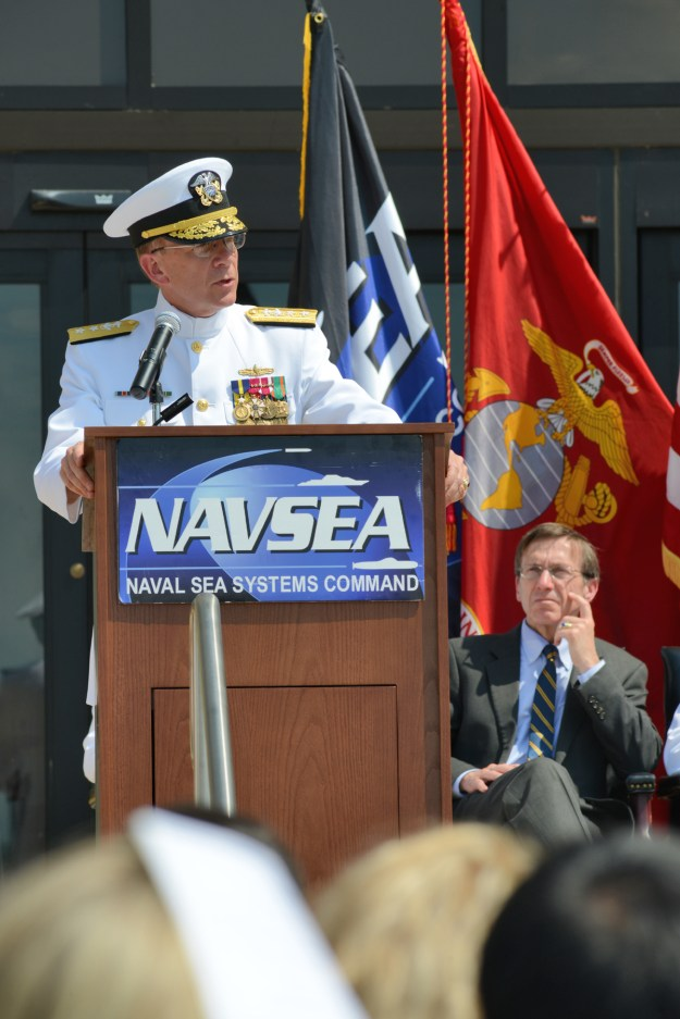 Rear Adm. Brian Antonio assumed command of the Program Executive Office Aircraft Carriers in a ceremony today at the Washington Navy Yard. US Navy photo.