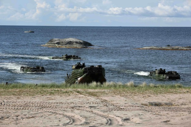 U.S. Marines with 3rd Battalion, 8th Marines deployed from Camp Lejeune, North Carolina, land their amphibious assault vehicles ashore in Uto, Sweden, during BALTOPS 2016, June 10. US Navy photo.