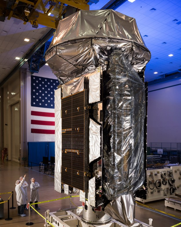 The fifth satellite of the U.S. Navy's Mobile User Objective System (MUOS-5) at Lockheed Martin's Sunnyvale, California satellite manufacturing facility in January 2016. Lockheed Martin photo.