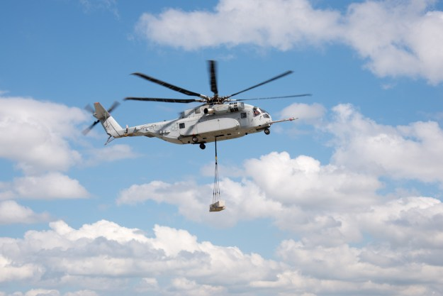 The U.S. Marine Corps' newest helicopter, the CH-53K, completed its first external load flight test carrying a 20,000 lb. load May 26 at Sikorsky Aircraft Corporation's Development Flight Center in West Palm Beach, Fla. Sikorsky photo.