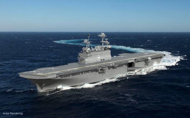 An artist's rendering of the LHA-8 amphibious assault ship. Huntington Ingalls Industries image.