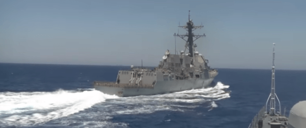 USS Gravely on June 17, 2016 from the deck of Russian frigate Yaroslav Mudry. image via RT