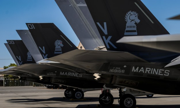 F-35Bs, assigned to the 3rd Marine Aircraft Wing, Marine Corps Air Station Yuma, Az., sit on the flightline during Red Flag 16-3 at Nellis Air Force Base, Nev on July 12, 2016. US Air Force Photo