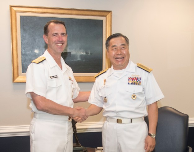 Chief of Naval Operations (CNO) Adm. John Richardson met with his South Korean (ROK) counterpart, Adm. Jung Ho-sub at the Pentagon on Aug 4, 2016. US Navy Photo