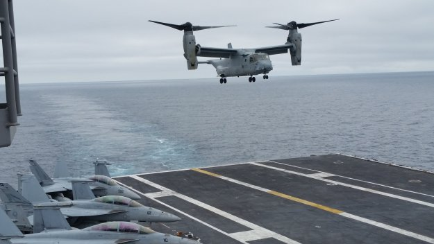 MV-22B landing on the deck of USS Carl Vinson (CVN-70). Gidget Fuentes Photo Used with Permission