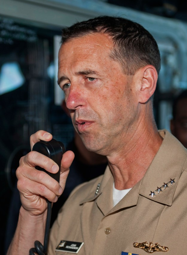Chief of Naval Operations Adm. John Richardson addresses the crew of amphibious assault ship USS America (LHA-6) on July 16, 2016. US Navy Photo