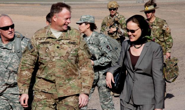 Michele Flournoy, then-Undersecretary of Defense for Policy, visits Shindand District, Afghanistan, in April 2011. Defense Department photo.