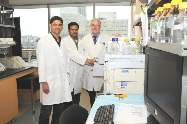 The results of collaborative research efforts by Dr. Bernd Meibohm (right), his research team, Dora Madhura, PhD, (center), and Ashit Trivedi, MS, as well as investigators at other institutions, were published in the February issue of Nature Medicine, a leading biomedical sciences journal.