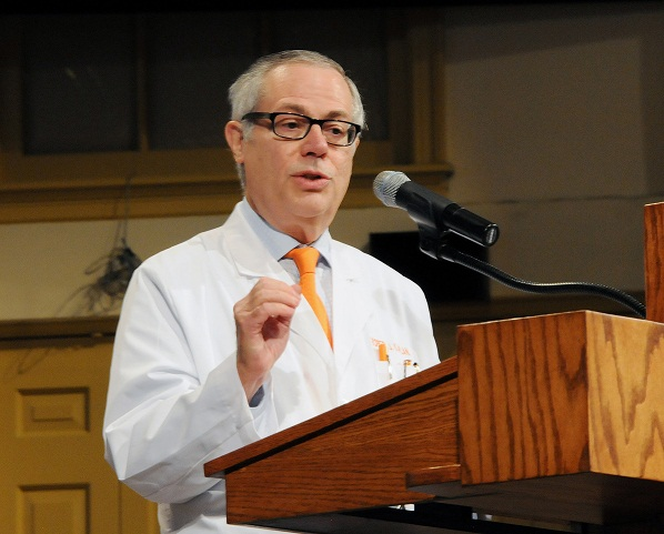 Dr. Robert J. Kaplan addresses students, faculty, parents and staff during the 2014 White Coat Ceremony for the UTHSC College of Medicine in August. The top position in the college is now named after him.