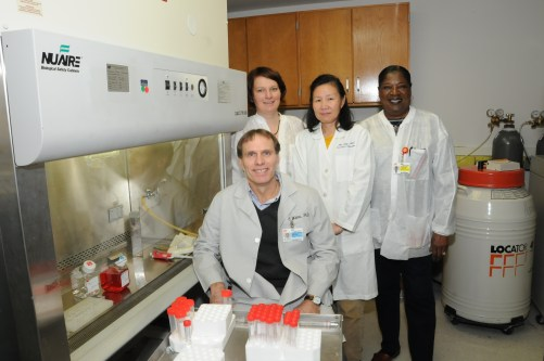 Dr. Christopher Waters and his research team (from left, Kristina Wilhelm, PhD, Bin Teng, PhD, and Charlean Luellen) have received a $1.5 million grant from the NIH that will allow them to understand the repair process associated with various lung injuries.