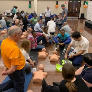 CPR/AED classes, like this one from a previous year, are designed to teach faculty, staff, and students how to successfully react in an emergency.