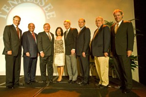 Winners of the Distinguished Alumnus/Alumna Award at the UT Knoxville Alumni Board of Directors gala, pictured from left to right: Alumni Board of Directors president Alan Wilson; winners Joel Katz, William Stokely, Nancy-Ann DeParle and John Cullum; UT Knoxville Chancellor Jimmy G. Cheek; former UT System President Joseph E. Johnson and current UT Interim President Jan Simek.