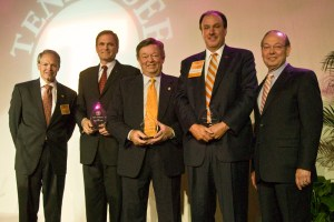 Winners of the Alumni Service Award at the UT Knoxville Alumni Board of Directors gala, pictured from left to right: Alumni Board of Directors president Alan Wilson; winners Joe Crafton, Dean Skadberg and Michael Strickland; and UT Knoxville Chancellor Jimmy G. Cheek.