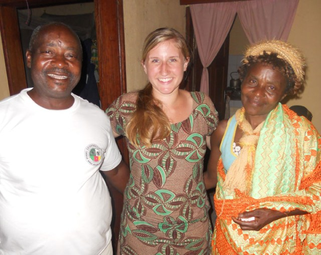 Amanda McRoy, center, with some friends in Cameroon during her two-year Peace Corps stay