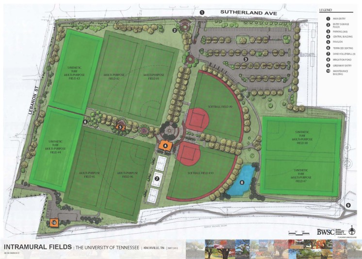 The latest architectural rendering of the UT RecSports Fields on Sutherland Avenue in Knoxville.