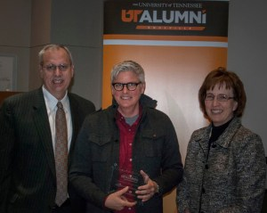 From left, Lee Patouillet, associate vice chancellor for Alumni Affairs, Paige Braddock, and Theresa M. Lee, dean of the College of Arts and Sciences.