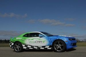 A Chevrolet Camaro, painted in the logo and colors of the EcoCAR 3 competition, is seen in this photo from General Motors, one of the event's main sponsors.