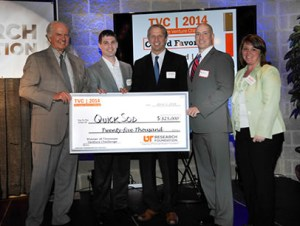 Pictured from left to right: David Millhorn, UT Executive Vice President and UTRF President; Richard Magid, UTRF Vice President at the UT Health Science Center; John Sorochan; Ryan Kemp; and Stacey Patterson, Vice President of the UTRF Multi-Disciplinary Office and UT Assistant Vice President and Director of Research Partnerships.