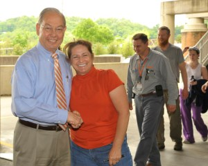 Chancellor Jimmy G. Cheek greets Theatre Department employee Robin Conklin at the Spring Thank-You Picnic, held yesterday at Thompson-Boling Arena.