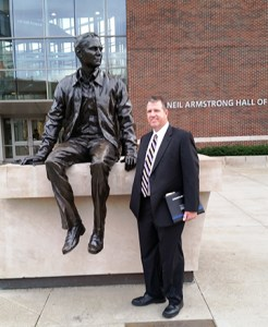 University of Tennessee Space Institute H.H. Arnold Chair John Schmisseur poses by a statue of Neil Armstrong at Perdue University. Schmisseur was on hand to receive an award from his alma mater.