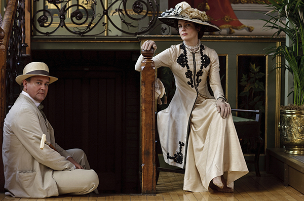 Robert Crawley, Earl of Grantham, played by Hugh Bonneville, and Cora Crawley, Countess of Grantham, played by Elizabeth McGovern in a film still from the first season of Downton Abbey. Film Still Credit: Carnival Films