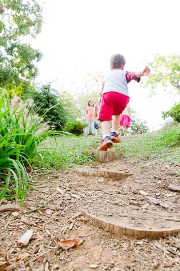 Child running outside